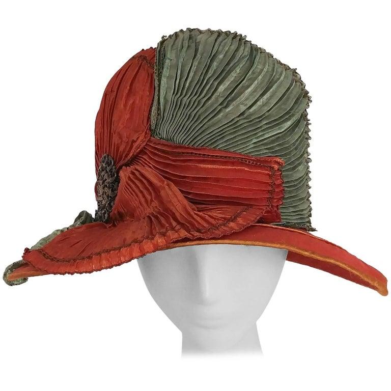 1920s Burnt Orange & Seafoam Green Wide Brim Cloche Hat