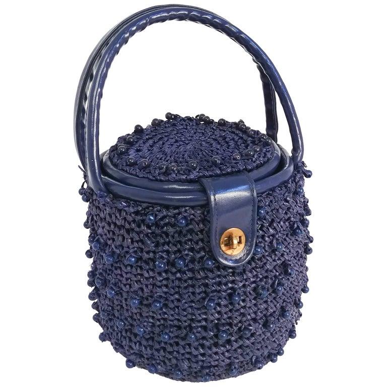 1960s Navy Raffia Woven Basket Purse For Sale