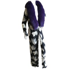 Dolce & Gabbana Vintage Feather Print Coat with Fox Fur Collar