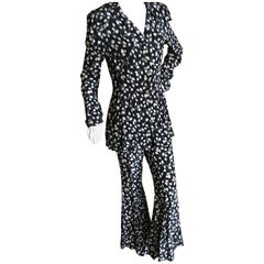 Anna Sui Vintage 1980's Floral Bell Bottom Suit