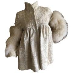 J. Mendel Paris White Broadtail Coat with Fox Sleeves