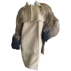 Gucci Luxurious Cashmere Coat with Ombre Feather Sleeves Size 38