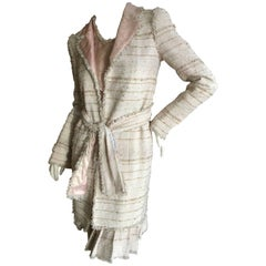 Chanel Four Piece Belted Fringed Tweed Suit from Spring 2004 Size 34