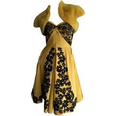 Oscar de la Renta Marigold Floral Strapless Evening Dress with Mink Shrug