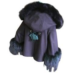 Alexander McQueen Deep Purple Swing Jacket with Fur Collar Cuffs and Hood