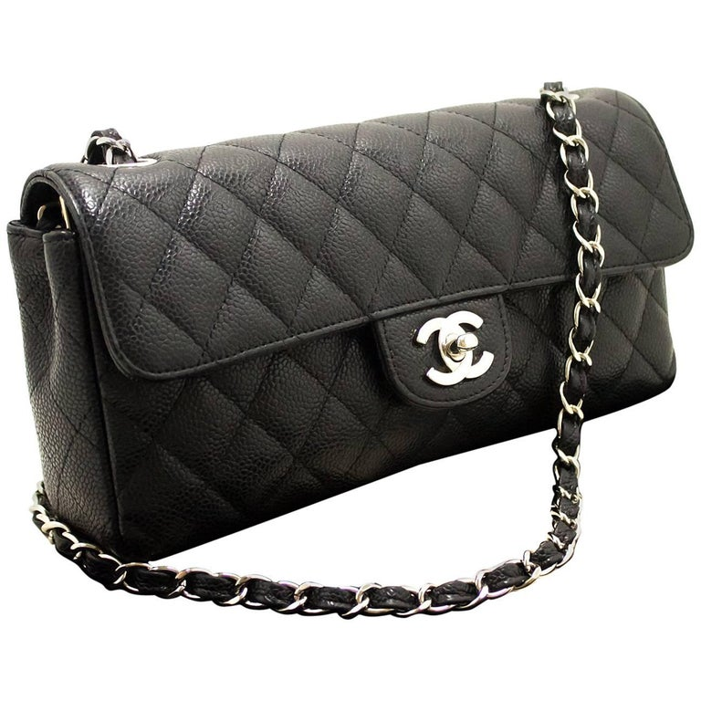 e3e55a7bca9c CHANEL Caviar Chain Shoulder Bag Black Quilted Flap Leather Silver For Sale  at 1stdibs