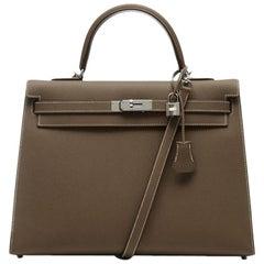 Hermes Grey Etoupe Kelly Epsom 35cm