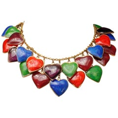1960s RARE Yves Saint Laurent multicolor glass paste hearts necklace
