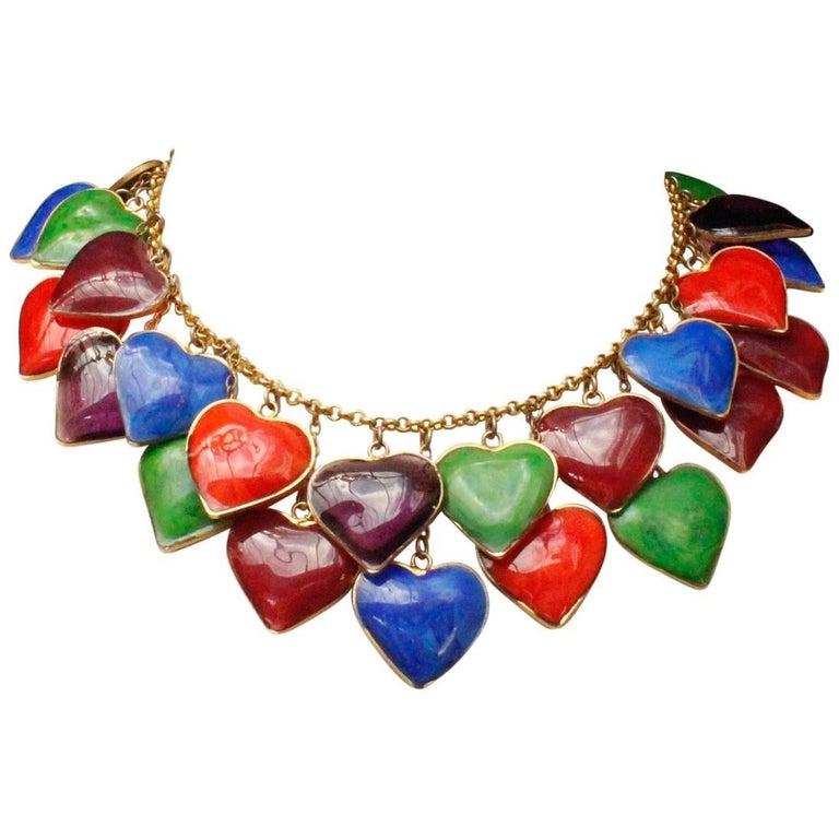 Yves Saint Laurent multicolor glass paste hearts necklace, 1960s  For Sale