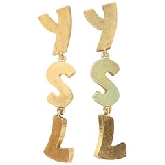 Yves Saint Laurent YSL gilded metal earrings, 1990s