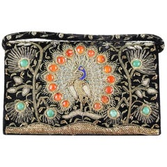 1930s/1940s Peacock Design Zardozi Embroidered Gemmed Black Velvet Evening Bag