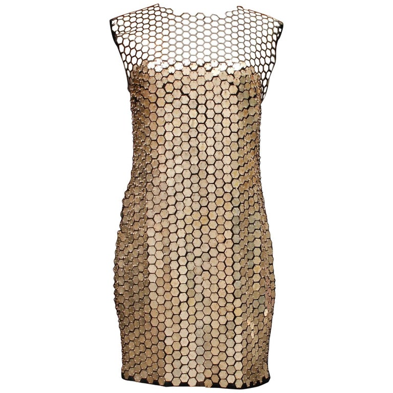 Tom Ford stunning evening dress with tulle and silver tone plates, 2010s