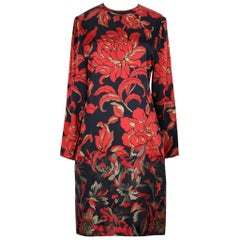 Galanos 1980s Black And Red Floral Silk And Silk Brocade Dress