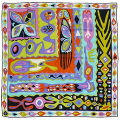 Emilio Pucci Colorful Abstract Silk Carre Scarf
