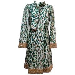 Emerald Green Animal Print/Ikat Evening Coat with Diamante Embellishment