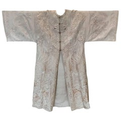 Antique 19th Century Chinese Coat Ivory Silk & Embroidered Dragons & Peacocks