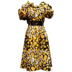 1980s, Christian Lacroix yellow, black and white organza puffy dress