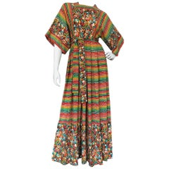 1970s Hildebrand at Liberty 100% Wool Floral and Striped Print Maxi Dress