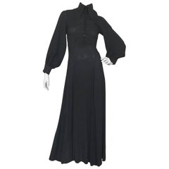 Ossie Clark Penny Collar 1970s Black Moss Crepe Maxi Dress
