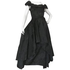 Couture Standard Vintage 1950s Black Leafy Satin Damask Cocktail 2 Way Dress