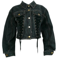 Jean Paul Gaultier Junior Vintage Black Denim Iconic Corset Style Jacket