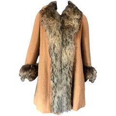 Chanel Haute Couture Wool Lattice & Fur 1967 Coat