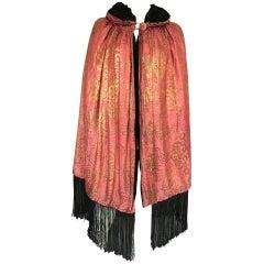Vintage 1920s Cocoon Cape Reversible Pink Silk Gold Metallic