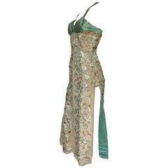 1950s Satin Green & Gold Metallic Sequin Stage / Burlesque Dress