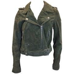 Blank Olive Suede Moto Jacket