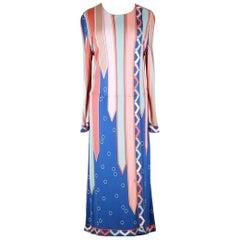 Emilio Pucci 1960s Vivara Art Déco Print Blue Rose Silk Jersey Drop Waist Dress