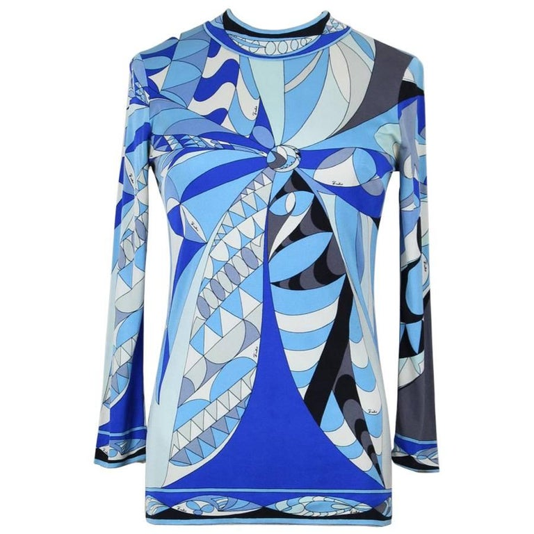 Emilio Pucci 1960s Blue Shades Abstract Print Silk Jersey Top