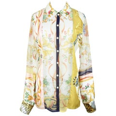 Salvatore Ferragamo 1990s Floral Animal Print Silk Twill Chiffon Blouse