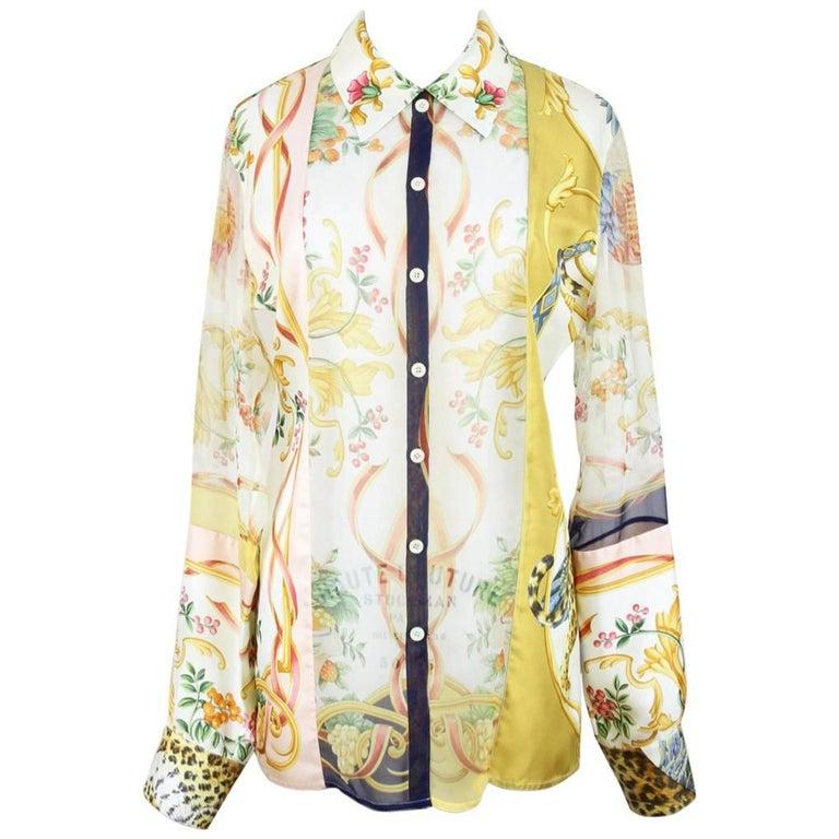 Salvatore Ferragamo Floral Animal Print Silk Twill & Silk Chiffon Blouse, 1990s
