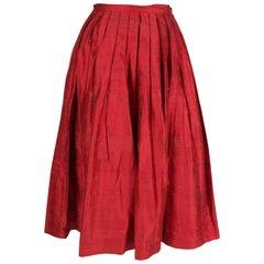 Caroline Charles Vintage Silk Red Skirt