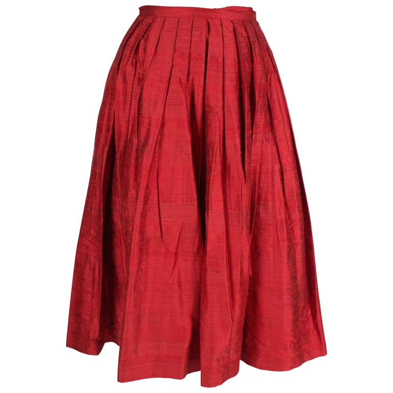 Caroline Charles Vintage Silk Red Skirt For Sale