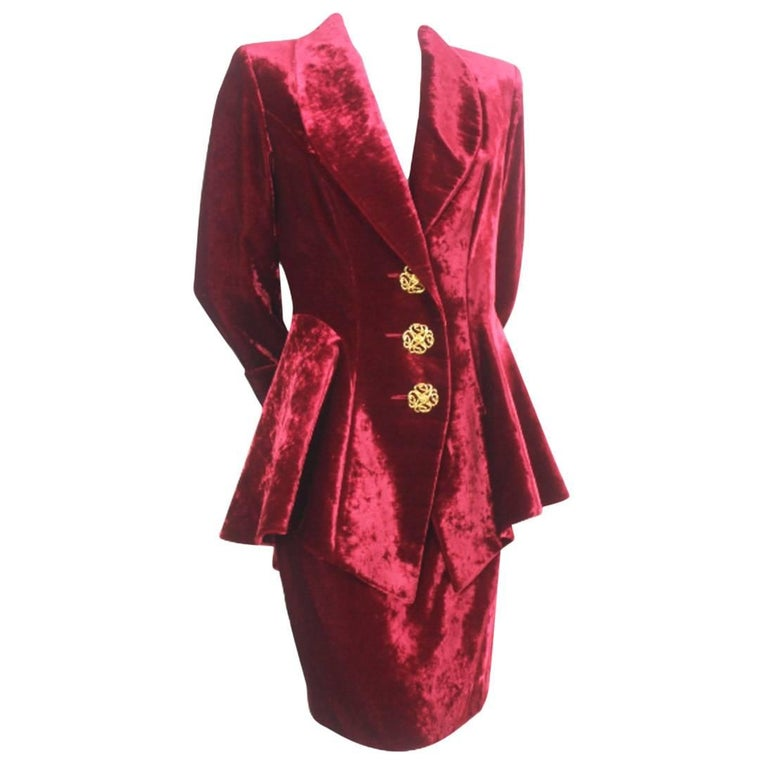 Loris Azzaro 1990s Velvet Skirt and Jacket
