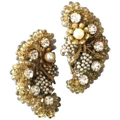 MIRIAM HASKELL Intricate Seed Pearl Crystal Clip Crescent Earrings
