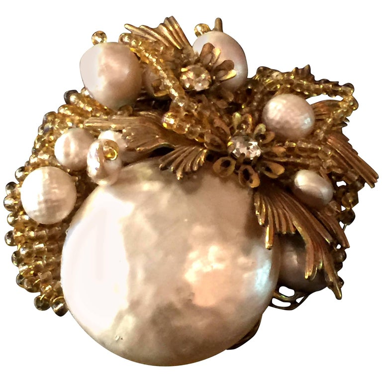 MIRIAM HASKELL Baroque Pearl Seed Bead and Gilt Metal Brooch/Pin For Sale