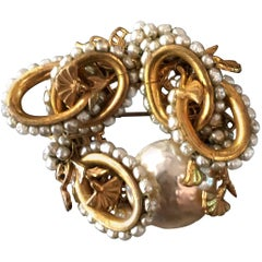 MIRIAM HASKELL Gilt Metal Baroque Pearl and Seed Pearl Brooch/Pin