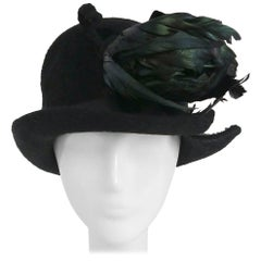 Edwardian Fur Felt Cloche Hat w/ Rooster Feathers