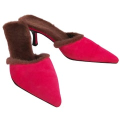 1980s Ungaro Hot Pink Suede Mules w/ Faux Fur Lining