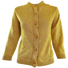 1950s Gold Metallic Lurex 3/4 Sleeves French Made Vintage 50s Cardigan Sweater