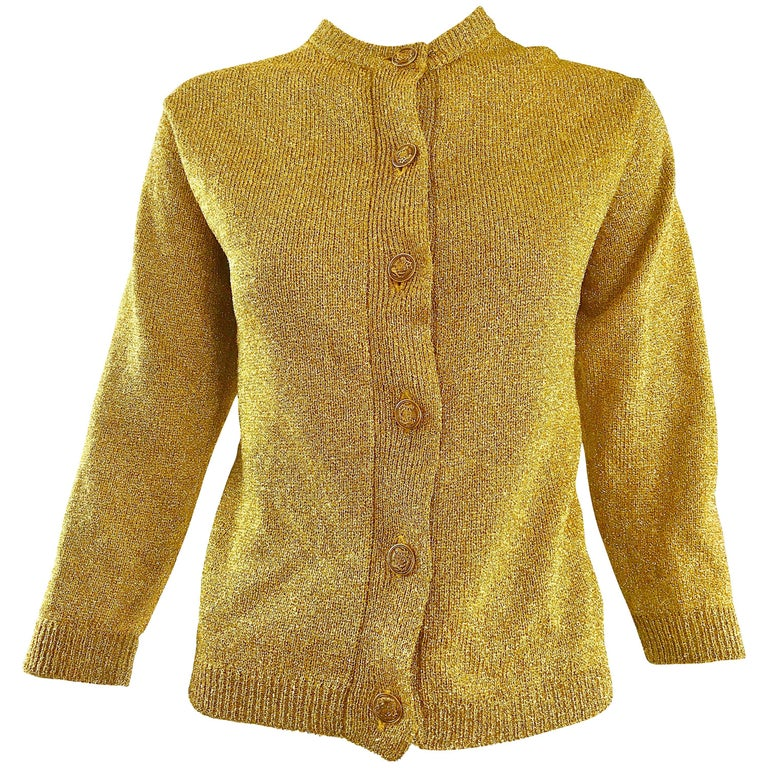 1950s Gold Metallic Lurex 3/4 Sleeves French Made Vintage 50s Cardigan Sweater For Sale