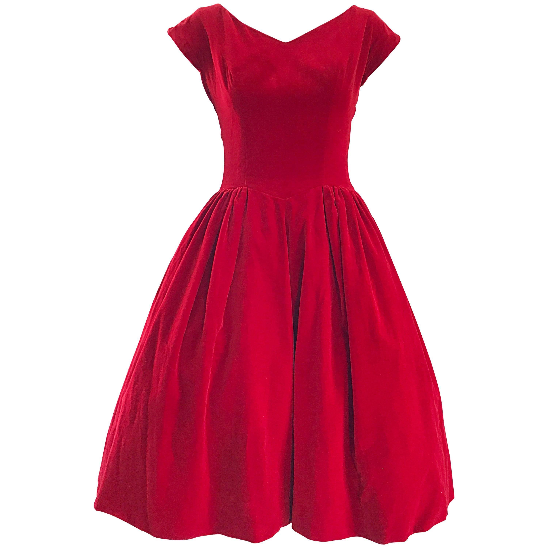 """1950s Lorrie Deb Vintage Stunning Red Velvet Fit 'n Flare """"New Look"""" Dress"""