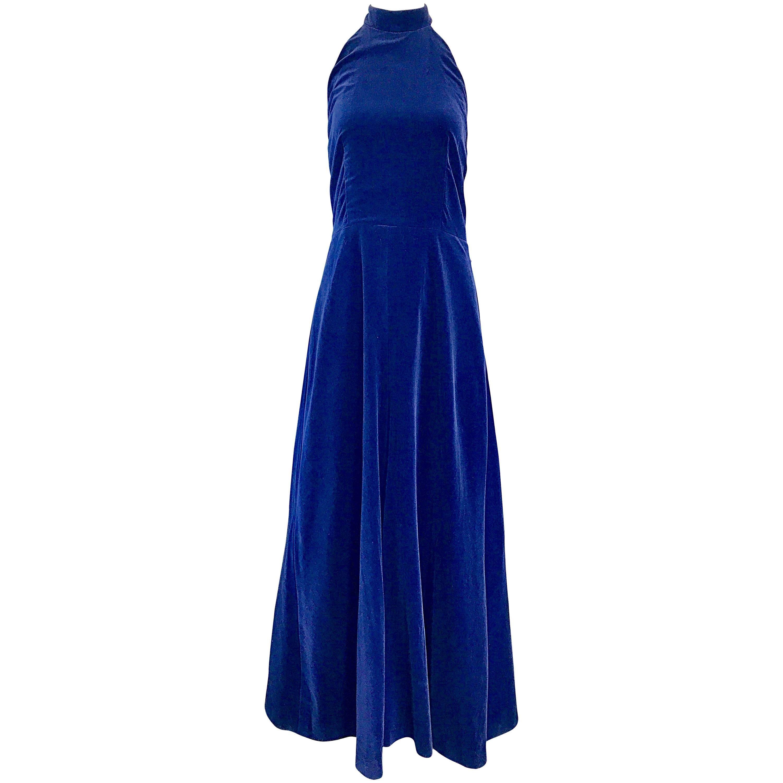 Yves Saint Laurent 1970s Vintage Navy Blue Velvet High Neck Halter Gown