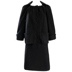 Vintage Alberta Ferretti 1990s Does 1960s Black Wool Size 6 90s Skirt Suit