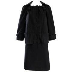 Vintage Alberta Ferretti 1990s Does 1960s Black Wool Size 6 90s Skirt Suit