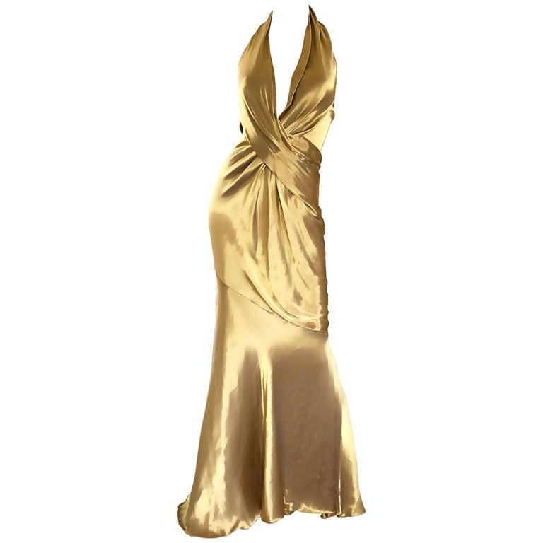 Stunning Vintage Donna Karan 1990s Liquid Gold Silk Plunging 90s Halter Gown For Sale