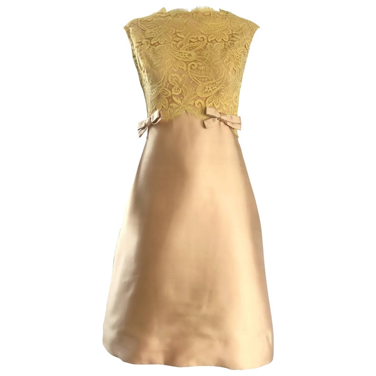 1960s Rappi Demi Couture Gold + Yellow Silk Shantung + Lace Vintage A Line Dress