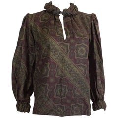 Pancaldi Paisley Print Silk and Wool Top